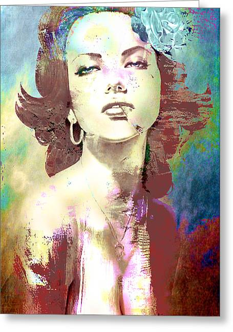 Greeting Card featuring the digital art Smoking Chick by Greg Sharpe