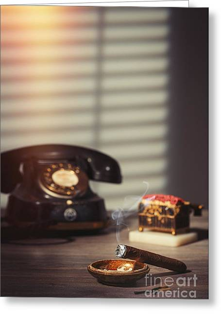 Smoking Cigar Greeting Card by Amanda Elwell