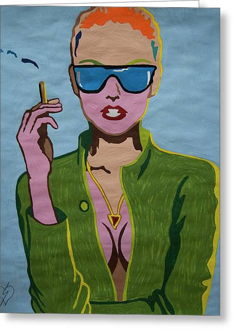 Smoking Woman Sunglasses  Greeting Card