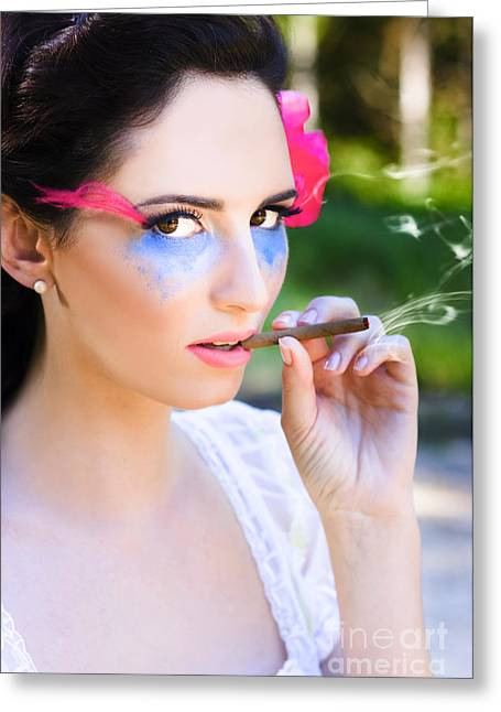 Smoking Glamour Greeting Card by Jorgo Photography - Wall Art Gallery