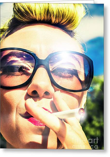 Smoking Hippie Retro Pin Up Girl Greeting Card by Jorgo Photography - Wall Art Gallery