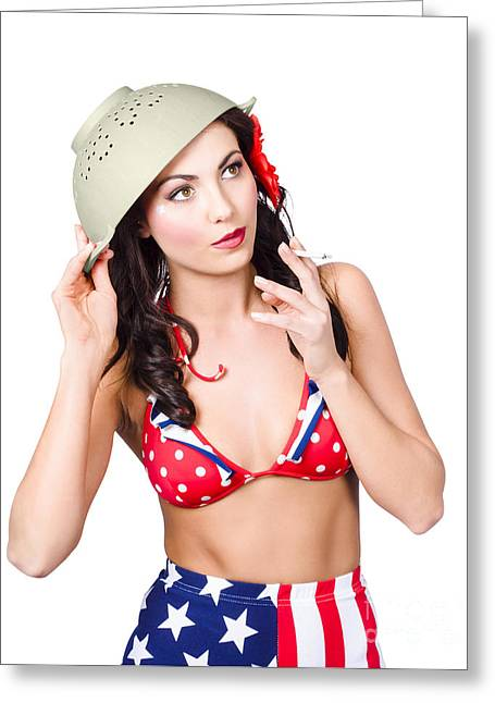 Smoking Hot American Military Pin-up Girl Greeting Card by Jorgo Photography - Wall Art Gallery