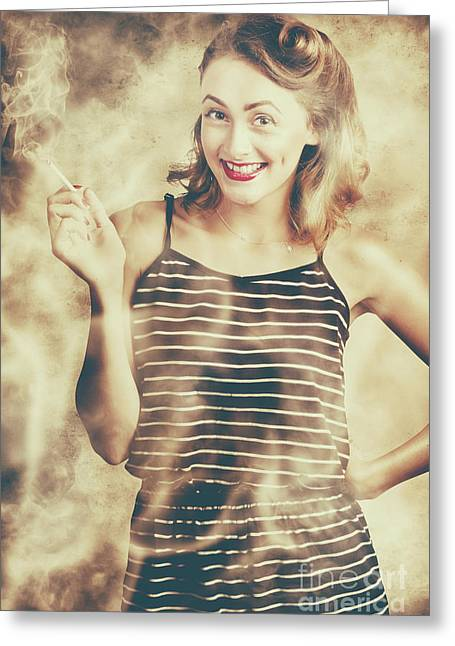 Smoking Hot Pin-up Housewife Greeting Card by Jorgo Photography - Wall Art Gallery