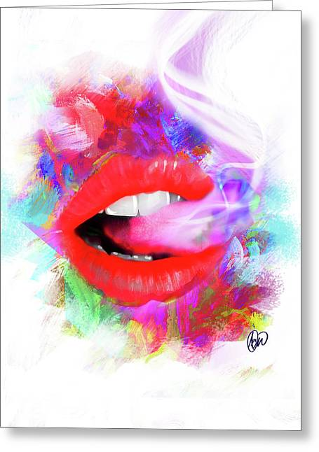 Smoking Lips Greeting Card