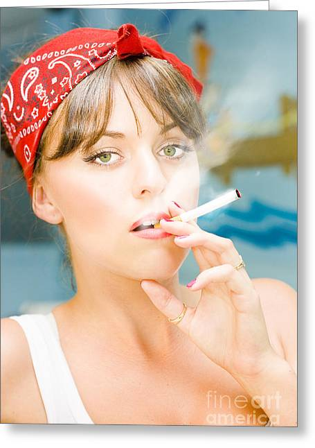 Smoking Greeting Card by Jorgo Photography - Wall Art Gallery