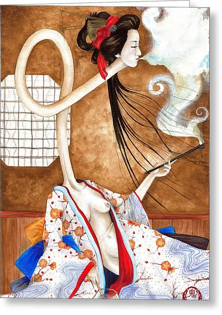 Smoking Siren Greeting Card by Rachel Walker