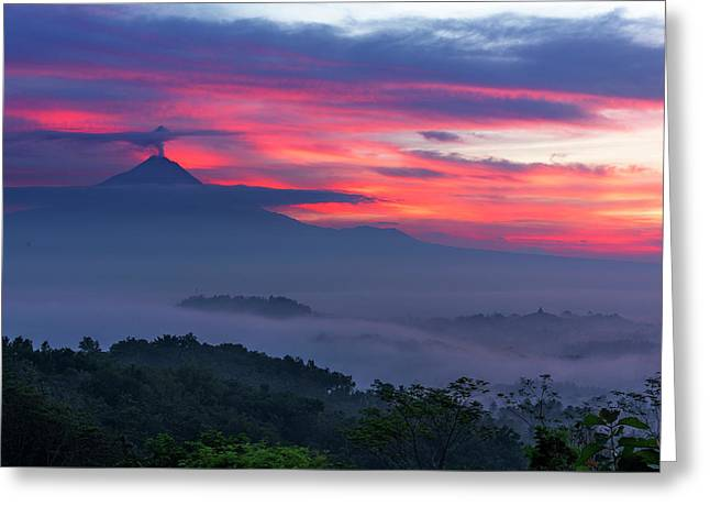 Smoking Volcano And Borobudur Temple Greeting Card