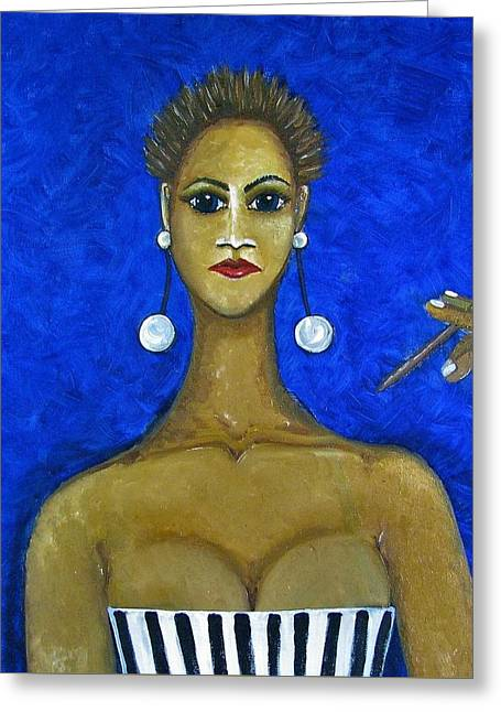 Smoking Woman 2 Greeting Card