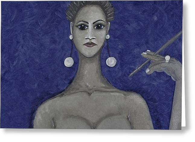 Smoking Woman 3 - Blue Greeting Card