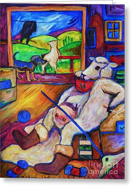 Greeting Card featuring the painting Smoko At The Sheep Shearing Shed by Dianne  Connolly