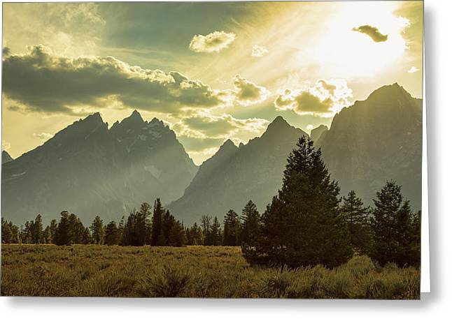 Smoky Golden Light On The Tetons Greeting Card