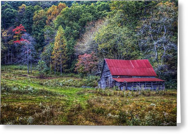 Smoky Mountain Colors Greeting Card by Debra and Dave Vanderlaan