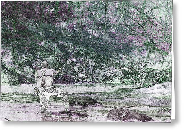 Greeting Card featuring the photograph Smoky Mountain Fisherman by Mike Eingle