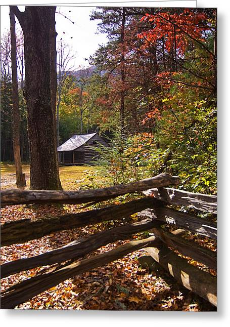 Smoky Mountain Log Cabin Greeting Card