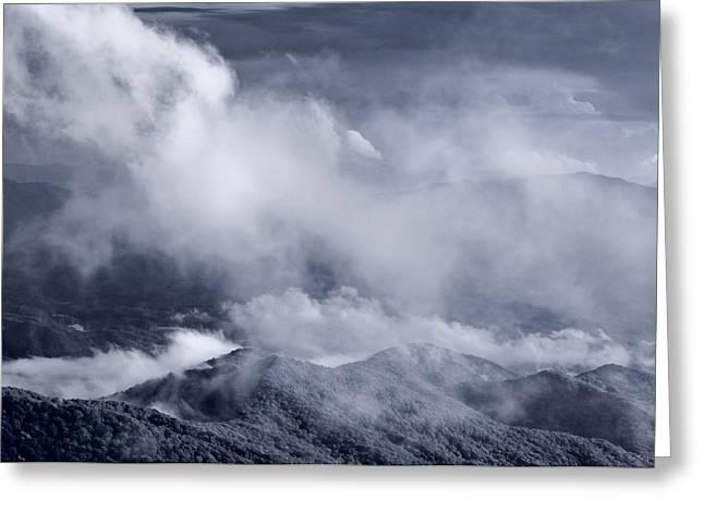 Smoky Mountain Vista In B And W Greeting Card by Steve Gadomski