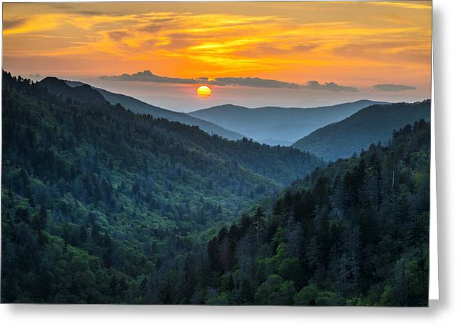 Smoky Mountains Sunset - Great Smoky Mountains Gatlinburg Tn Greeting Card by Dave Allen
