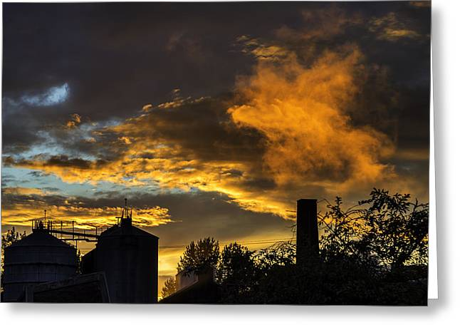 Greeting Card featuring the photograph Smoky Sunset by Jeremy Lavender Photography