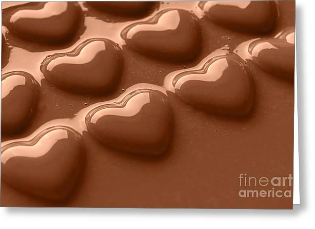 Smooth Melted Chocolate Hearts  Greeting Card by Richard Thomas