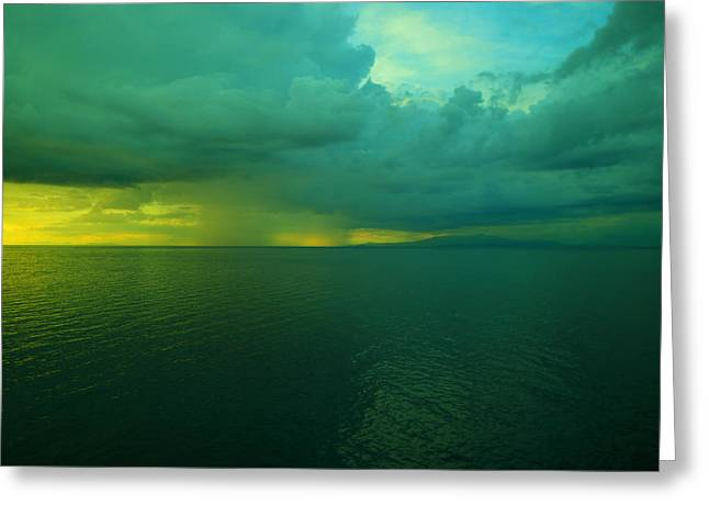 Smooth Water Rain And Sun Greeting Card by Jeff Swan