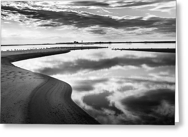 Smooth Water Reflections Bw Greeting Card by Bill Wakeley