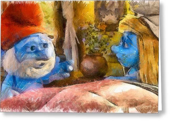 Smurfette And Papa Smurf - Pa Greeting Card