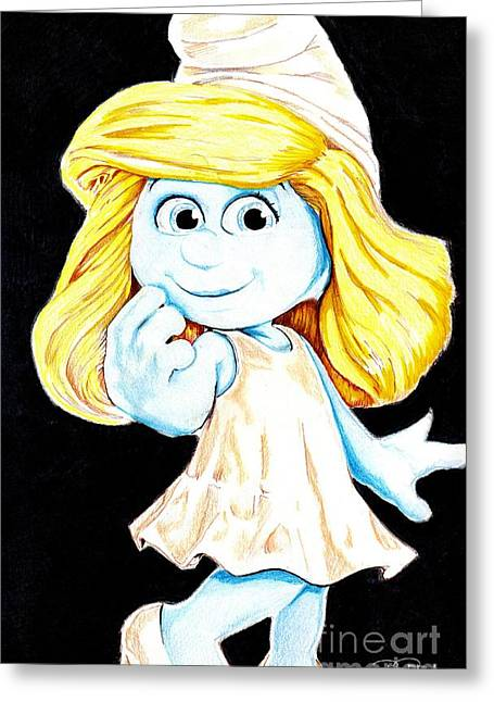 Smurfette Greeting Card by Bill Richards