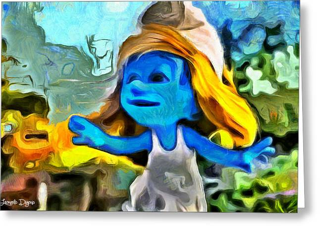Smurfette In Nature - Pa Greeting Card by Leonardo Digenio
