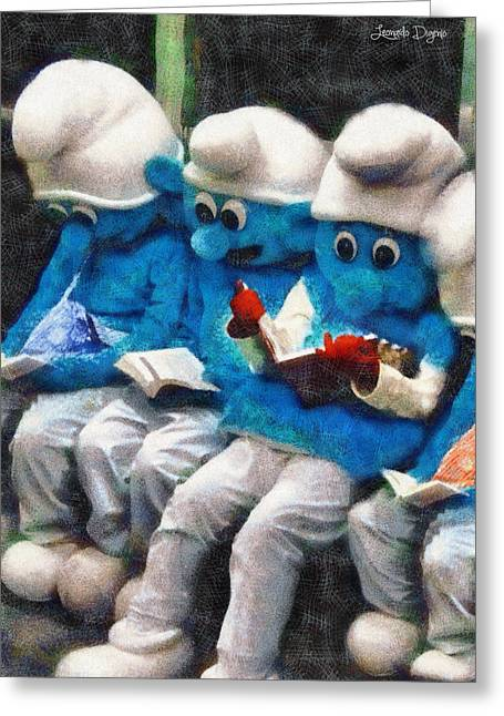 Smurfs At Library - Da Greeting Card