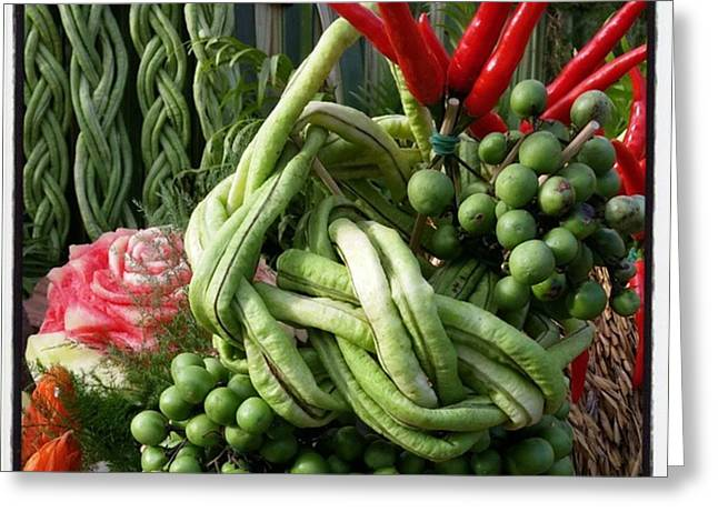 Greeting Card featuring the photograph Snake Beans. At The Surin Elephant by Mr Photojimsf