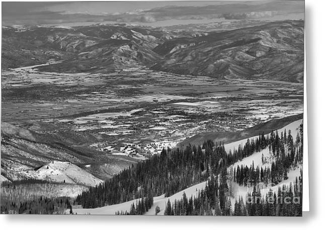 Snake Creek Pass Valley Views Black And White Greeting Card