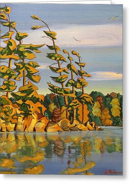 Snake Island In Fall Sunset Greeting Card