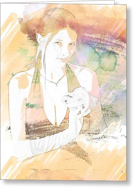 Snake Lady Or Girl With Live Snake Painting 5259.02 Greeting Card by M K  Miller