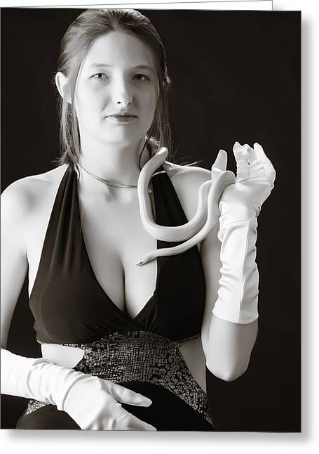 Snake Lady Or Girl With Live Snake Photograph 5244.01 Greeting Card by M K  Miller