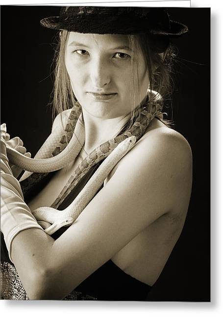 Snake Lady Or Girl With Live Snake Photograph 5246.01 Greeting Card by M K  Miller