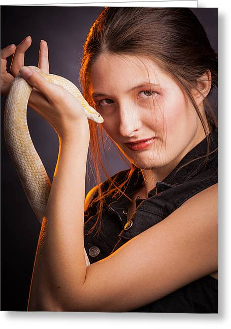 Snake Lady Or Girl With Live Snake Photograph 5255.02 Greeting Card by M K  Miller