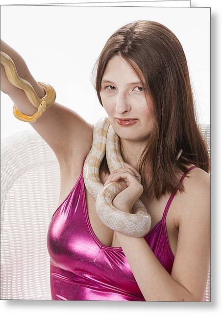 Snake Lady Or Girl With Live Snake Photograph 5268.02 Greeting Card by M K  Miller
