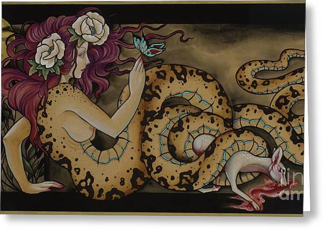 Snake Lady Greeting Card