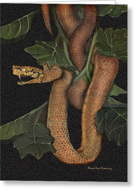 Snake Of No Kind Greeting Card by Karen-Lee