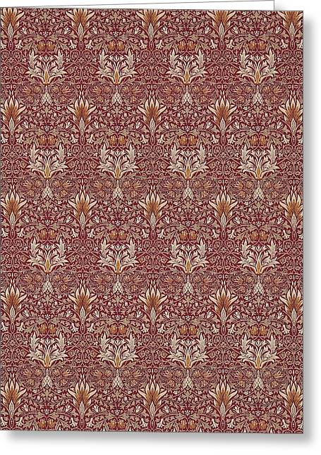Snakeshead In Claret And Gold Greeting Card by William Morris