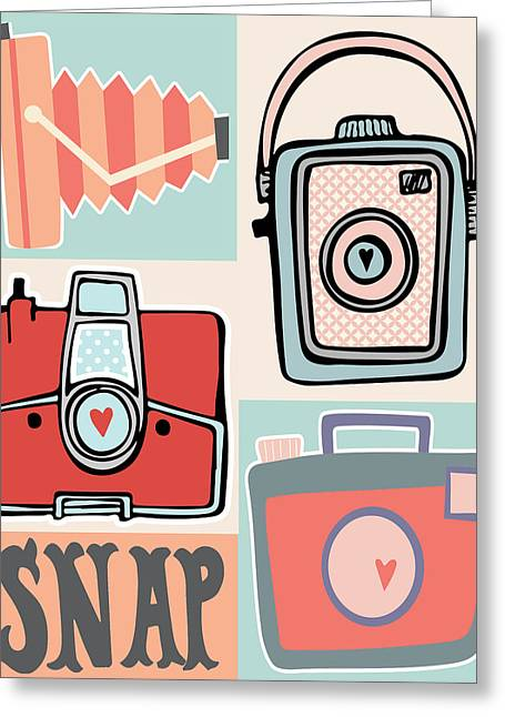 Snap - Vintage Cameras Greeting Card by Colleen VT