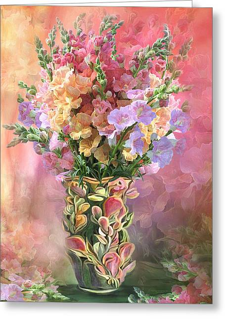 Snapdragons In Snapdragon Vase Greeting Card by Carol Cavalaris