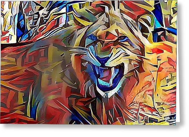 Snarling Lion Greeting Card