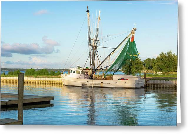 Snead's Ferry Shrimp Boat Greeting Card by Cynthia Wolfe