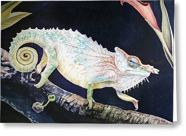 Greeting Card featuring the painting Sneaky Chameleon  by Irina Sztukowski
