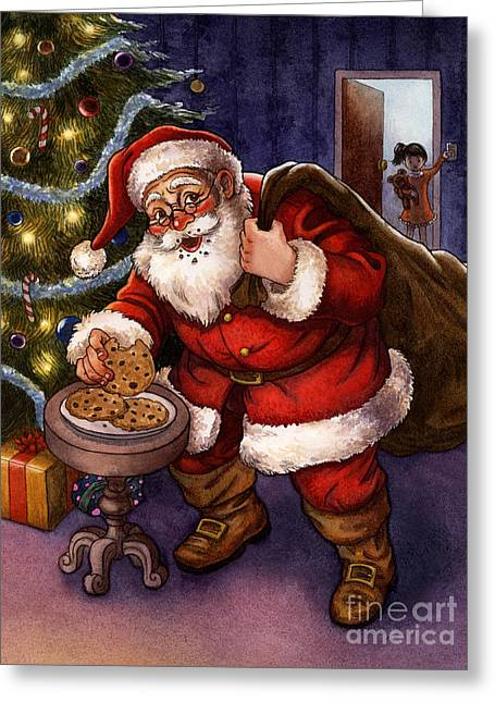 Sneaky Santa Greeting Card by Isabella Kung