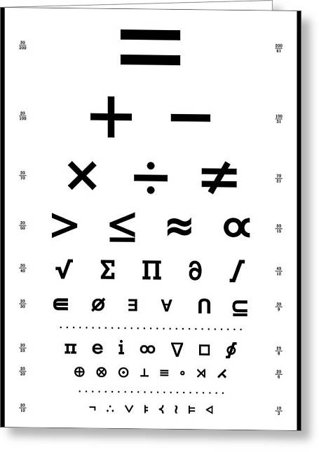 Snellen Chart - Mathematical Symbols Greeting Card by Martin Krzywinski