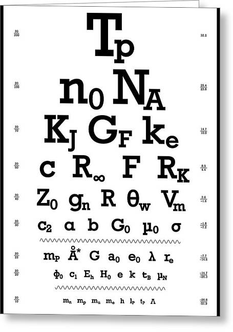 Snellen Chart - Physical Constants Greeting Card by Martin Krzywinski