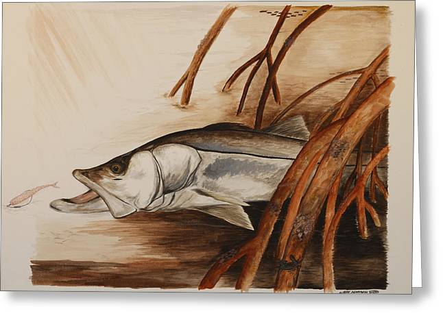 Robalo Greeting Cards - Snook In The Mangroves Greeting Card by Jeff Harrell