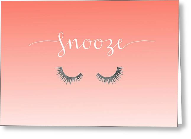 Snooze Coral Pillow Greeting Card