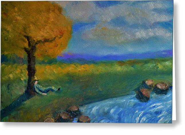 Snoozing On A Warm Autumn Afternoon Greeting Card by Marla McPherson